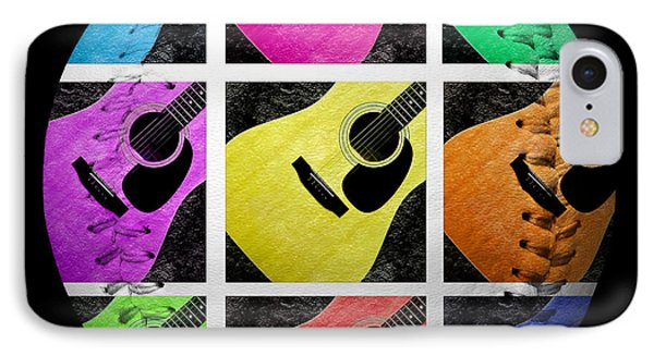 Guitar Tic Tac Toe White Baseball Square Phone Case by Andee Design
