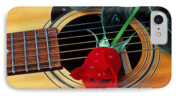 Guitar With Single Red Rose Phone Case by Garry Gay