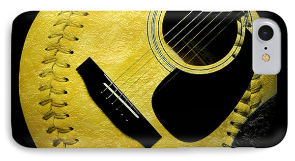 Guitar Yellow Baseball Square Phone Case by Andee Design