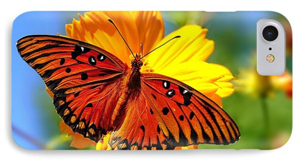 IPhone Case featuring the photograph Gulf Fritillary by Ludwig Keck