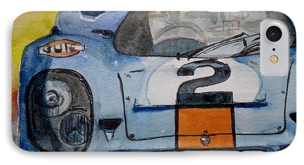 IPhone Case featuring the painting Gulf Porsche by Anna Ruzsan
