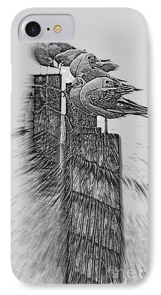 Gulls In Pencil Effect IPhone Case by Linsey Williams