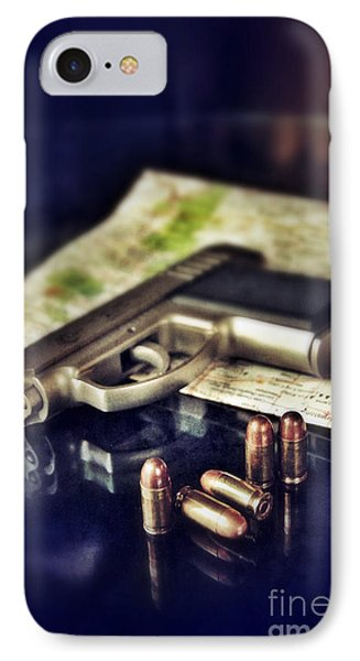 Gun With Bullets And Map Phone Case by Jill Battaglia