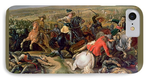 Gustavus II Adolphus, King Of Sweden 1595-1632 Leading A Cavalry Charge At The Battle Of Lutzen IPhone Case