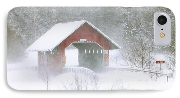 Guthrie Covered Bridge In Blowing Snow IPhone Case