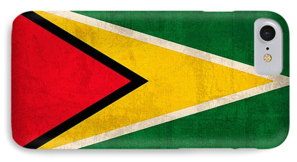 Guyana Flag Vintage Distressed Finish IPhone Case by Design Turnpike