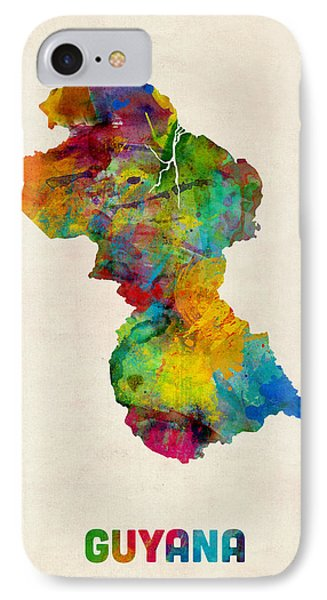 Guyana Watercolor Map IPhone Case by Michael Tompsett