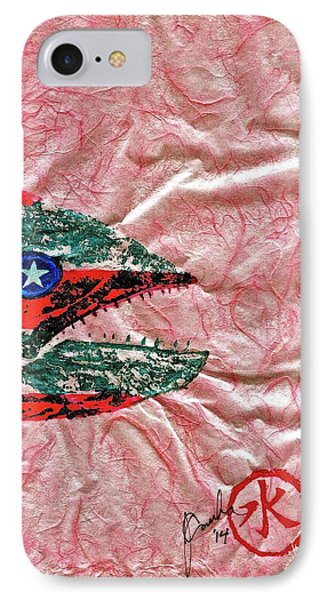 Gyotaku- 4th July - Spanish Mackerel- Bubble Gum Pink IPhone Case by Jeffrey Canha