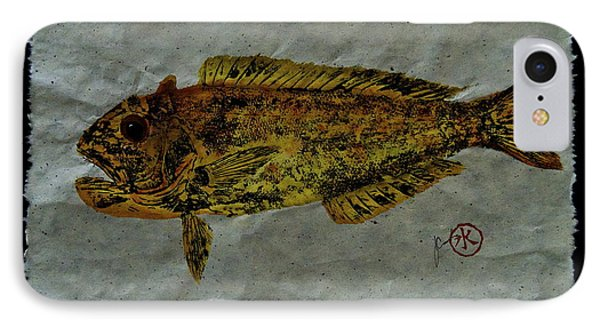 Gyotaku - Golden Tilefish - Clown Of The Seas - Blanquillo IPhone Case by Jeffrey Canha