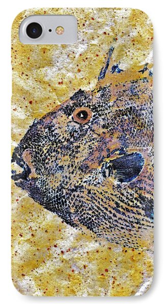 Gyotaku - Triggerfish - Oldwench -  Diptych 1  IPhone Case by Jeffrey Canha