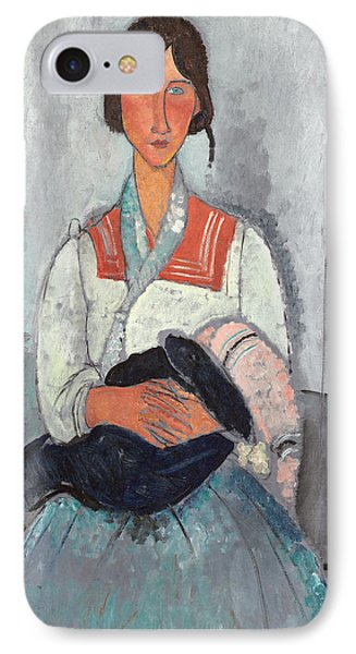 Gypsy Woman With Baby IPhone Case by Amedeo Modigliani