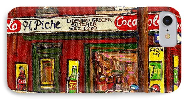 H. Piche Grocery - Goosevillage -paintings Of Montreal History- Neighborhood Boys Play Street Hockey Phone Case by Carole Spandau