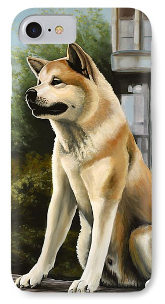 Hachi Painting IPhone Case by Paul Meijering