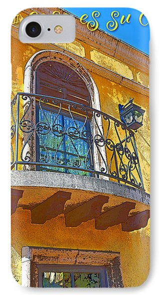 Hacienda Balcony Railing Lanterns Mi Casa Es Su Casa IPhone Case by A Gurmankin