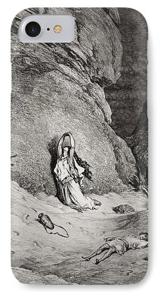 Hagar And Ishmael In The Desert Phone Case by Gustave Dore
