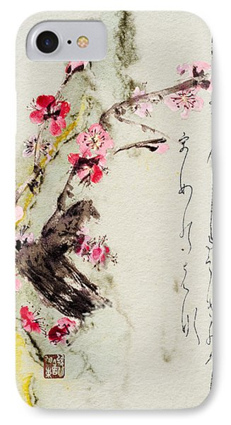 IPhone Case featuring the painting Haiga My Spring Too Is An Ecstasy by Peter v Quenter
