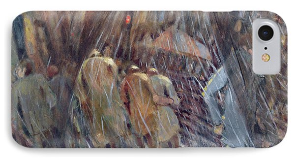 Hail On Sixth Avenue, New York City, 1987 Oil On Canvas IPhone Case by Charlotte Johnson Wahl