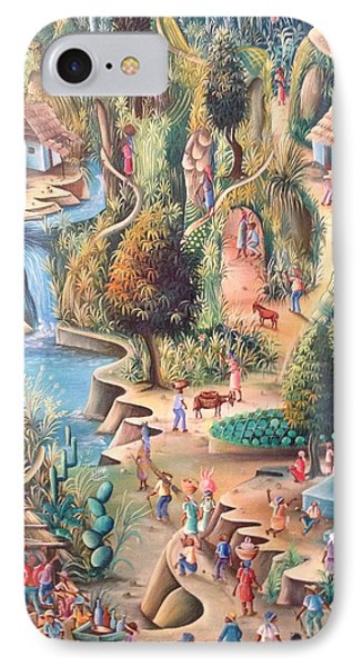 IPhone Case featuring the painting Haitian Village by Dimanche from Haiti