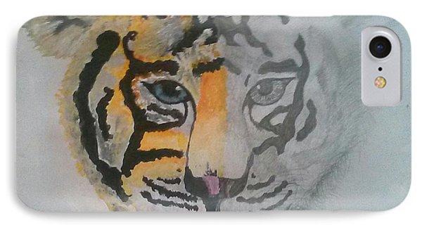 Half And Half Tiger Phone Case by Kendya Battle