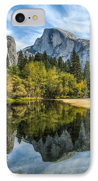 Half Dome Reflected In The Merced River Phone Case by John Haldane