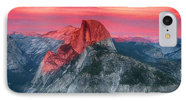 IPhone Case featuring the painting Half Dome Sunset From Glacier Point by John Haldane
