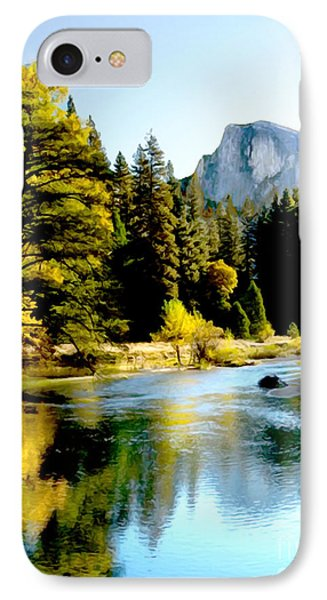 Half Dome Yosemite River Valley IPhone Case by Bob and Nadine Johnston