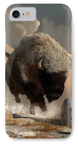 Half White Bison IPhone Case by Daniel Eskridge