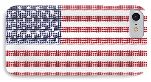 Halftone Us Flag IPhone Case by Celestial Images