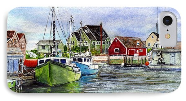 Peggys Cove Nova Scotia Watercolor IPhone Case by Carol Wisniewski