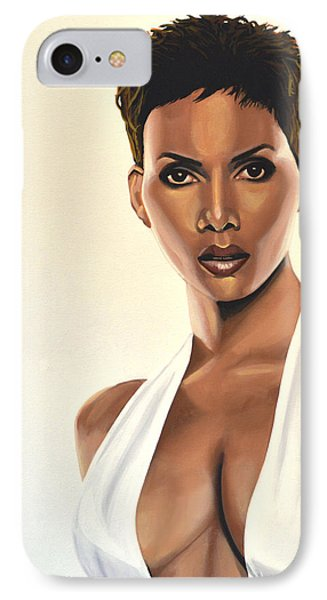 Halle Berry Painting IPhone Case by Paul Meijering