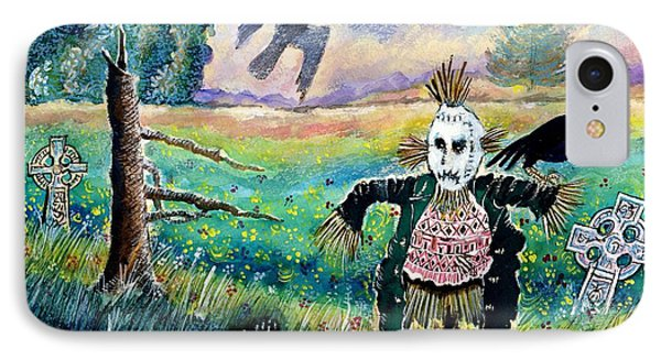 Halloween Field With Funny Scarecrow Skeleton Hand And Crows Phone Case by Ion vincent DAnu