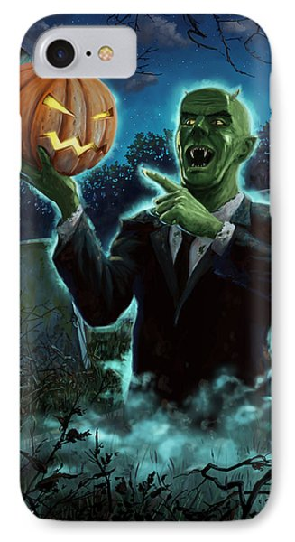 Halloween Ghoul Rising From Grave With Pumpkin Phone Case by Martin Davey