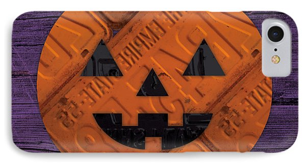 Halloween Pumpkin Holiday Boo License Plate Art IPhone Case by Design Turnpike