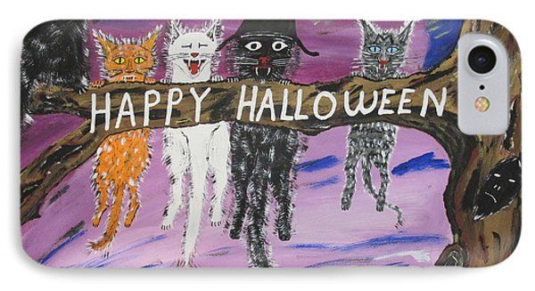 Halloween Scaredy Cats IPhone Case by Jeffrey Koss