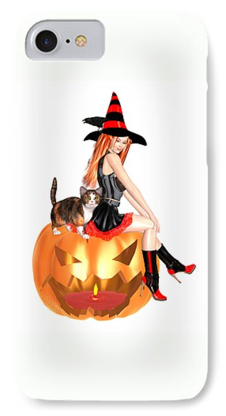 Halloween Witch Nicki With Kitten IPhone Case by Renate Janssen
