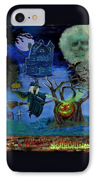 Halloween Witch's Coldron IPhone Case by Glenn Holbrook