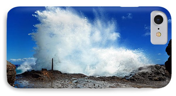 IPhone Case featuring the photograph Halona Blowhole Crashing Wave by Aloha Art
