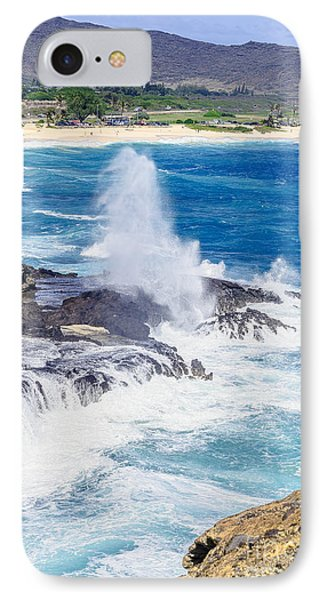 IPhone Case featuring the photograph Halona Blowhole Huge Geyser by Aloha Art
