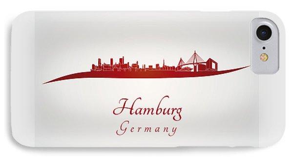 Hamburg Skyline In Red IPhone Case