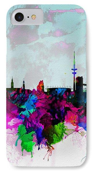 Hamburg Watercolor Skyline IPhone Case