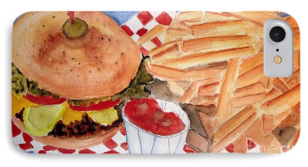 Hamburger Plate With Fries IPhone Case by Carol Grimes