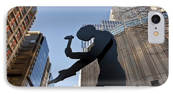 Hammering Man. Downtown, Seattle IPhone Case by Jim Corwin