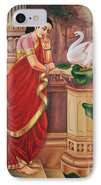 IPhone Case featuring the painting Hamsa Damayanthi by Ragunath Venkatraman