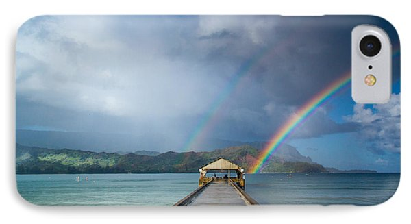 Hanalei Bay Pier And Double Rainbow IPhone Case by Roger Mullenhour