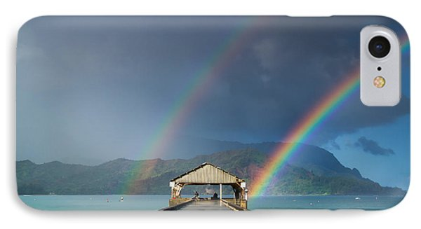 Hanalei Pier And Double Rainbow IPhone Case by Roger Mullenhour
