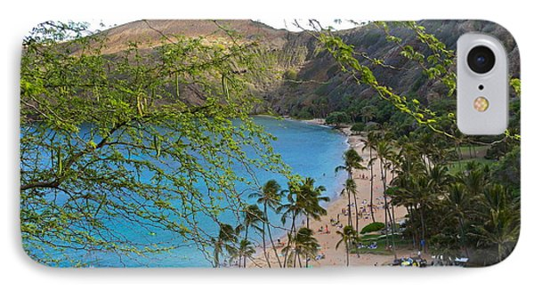 Hanauma Bay Nature Preserve Beach Through Monkeypod Tree IPhone Case by Michele Myers