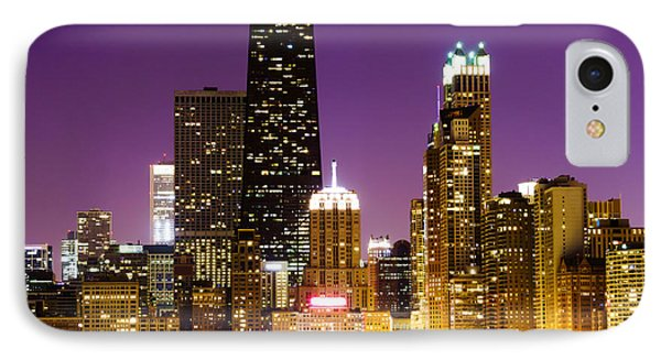 Hancock Building At Night In Chicago Phone Case by Paul Velgos
