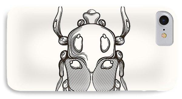 T Shirts iPhone 7 Case - Hand Drawn Engraving Sketch Scarab by Panki