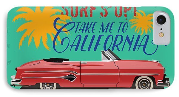 T Shirts iPhone 7 Case - Hand Drawn Retro Car With A Text Take by Heather insane