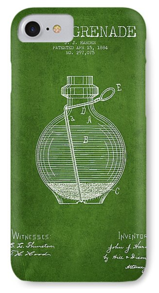 Hand Grenade Patent Drawing From 1884 - Green IPhone Case by Aged Pixel